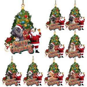 Christmas Tree Hanging Pendant Wooden Cute Dog Santa Claus Decorations Xmas Tree Pendants w-01017