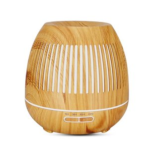 Humidifiers 400ml Striped Hollow Wood Color Aromatherapy Machine Ultrasonic Cool Mist Air Humidifier, Remote Control, WiFi