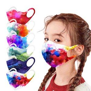 Gestrickte Gesichtsmaske für Jungen Mädchen Bunte staubdichte Aquarell Kinder Eis Seide Baumwollmasken Waschbare Wasserdichte Atmungsaktive Anti-Sai-Gesichtsmaske Auf Lager