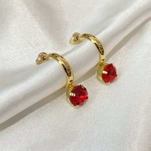 French Exquisite Gemstone Earrings Compact Stylish Ear Cuff Simple Versatile High-End Commuter Jewelry Accessories