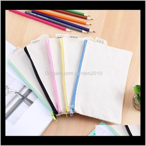Cases Supplies Office School Business & Industrial Drop Delivery 2021 Blank Canvas Zipper Pencil Pure Cotton Pen Pouches Cosmetic Bags 20Dot5
