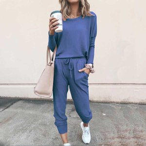 Two Piece Set Women O-neck Pullover Shirt And Elastic Waist Long Pants Casual Tracksuit Solid Clothes For Female Ropa De Mujer Y0625