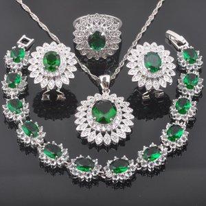 Küpe Kolye Düğün Takı Setleri Kadınlar Için Kristal Gümüş Renk Bilezik Yeşil Zirkonya Kolye Yüzük QS0449