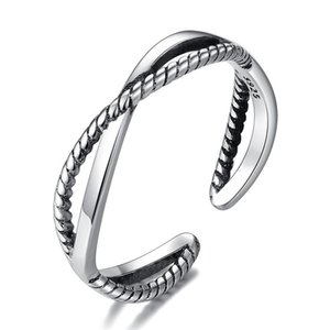 S925 Silver Antique Band Rings Fashion Crossed Adjustable Women Jewelry C3