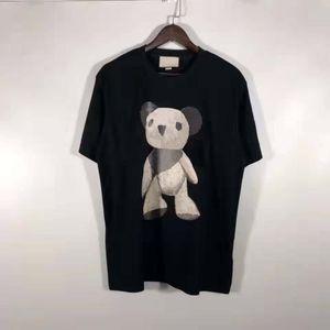 Men Women T Shirts Summer Breathable Tops Tees Fashion Style Bear Pattern Printed Short Sleeves Unisex Street Wears Mens Tshirts Size M-2XL