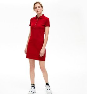 2021 new womens dress polo crocodile Cotton Shirt Dresses Casual Polo Clothing A-Line Skirt Fresh Sweet Apparel brand women dressses