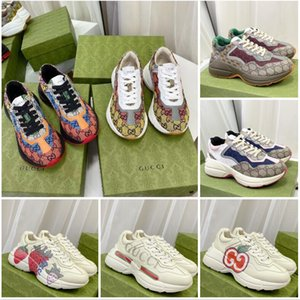 2021 Designer RHYTON Sneakers Beige Hommes Formateurs Vintage Chaussures de luxe Chaussures Dames Designer Sneakers avec boîte taille 35-46