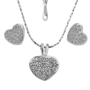 18K Platinum Plated Heart Jewelry Sets Fashion Stud Earrings Pendant Necklaces Austrian Crystal Women Jewelery Set