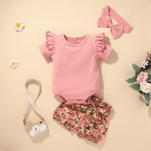 Baby Rib Rompers+Bow Flower Pants Sets Summer 2021 Children Boutique Clothes 0-2T Infant Toddlers Outdoor 2 PC Clothing Set