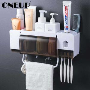 Oneup Toothbrush Holder Dentifricio Squeezer Dispenser Accessori da bagno Set 5 pezzi Bagno Stoccaggio Cassa Cassa Articoli per la casa SH190919