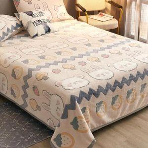 Sheets & Sets Milk Velvet Coral Fleece Flannel Blanket Solid Color Bedroom Dormitory Bedding Bed Sheet Washable King Queen Size J8658