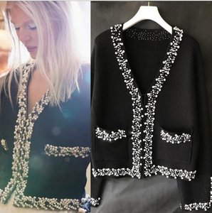 220 2021 Milan Style Spring Summer Brand Same Style Sweater Print Long Sleeve V New Black Beads Women Clothes XUE