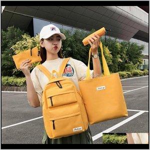 Backpacks 4 Pcs Set Teen Bags For Teenage Girls Student School Backpack Women Bagpack Schoolbag Summer Black Y200706 Blyk Ji0N9