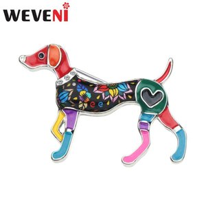 Pins, Brooches WEVENI Enamel Alloy Whippet Dog Pin For Scarf Clothes Decoration Cartoon Animal Jewelry Women Girl Teens Accessories