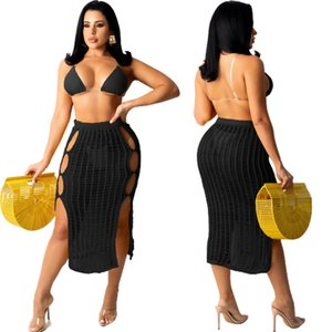 Black Side Hollow Out Party Clubwear Skirt for Women High Waist Double High Split Bandage Skirts Elegant Package Hip Bottoms