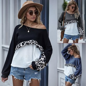 Autumn and Winter 2021 New Solid Color Stitching Leopard Sweater Long Sleeve Wood Ear Ee Top T-shirt