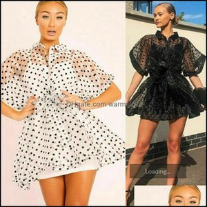 Er-Ups Swimming Equipment Sports & Outdoorser-Ups Vintage Sexy Lace Short Dress Women Long Puff Sleeve Dresses Dots Female Er Up Drop Delive