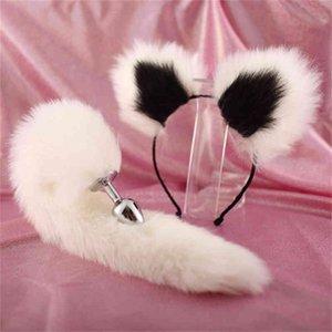 BESTCO 18+ Girl Fox Tail Ears Anal Plug Plush Butt Dilator Erotic Cosplay Fetish Roleplay Bdsm Adult Women Sex Toys Accessories X0401