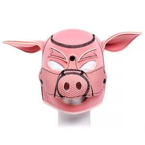 SM Slave hood Sponge filling Pink head Bdsm Bondage pig Cosplay Erotic Mask Costumes SexIntimacy Goods For Couples