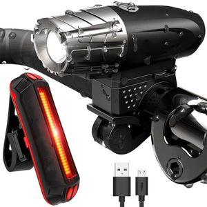 Kit de lumière de vélo étanche à LED USB rechargeable rechargeable de vélo de la queue de la queue de la lumière 300LM VTT Vélo de montagne TAILLILLINGHT Ensembles 408 x2