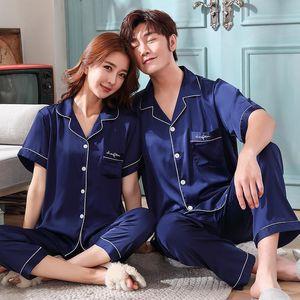 Navy Blue Couples Pajama Summer Short Sleeve Silk Satin Sleepwear Pyjamas Men And Women Match Lovers Lounge Pajamas Set Men's