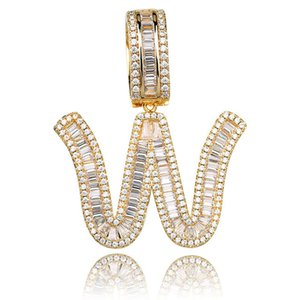 Mens Hip Hop Iced Out Jewelry Gold Plated Baguette CZ Diamond Letter Initial Pendant Necklace