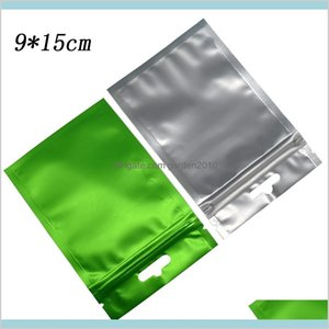 Borse di imballaggio Office School Business Industrial Heat Sealeable 9x15cm opaco Zip Verde Zip Lock in alluminio Plastic Package Bag Seal Seal
