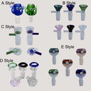 Hookah Accessoires 5 Styles Glass Fumeurs Coups de fumer 14mm 18mm Joint masculin pour eau Bongs Tuyaux Huile Plateaux