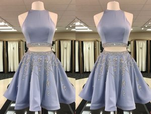 2021 Lovely Light Blue Two Pieces Short Homecoming Prom Dress jewel Neck Rhinestones Satin Mini Party Graduation Cocktail Dresses