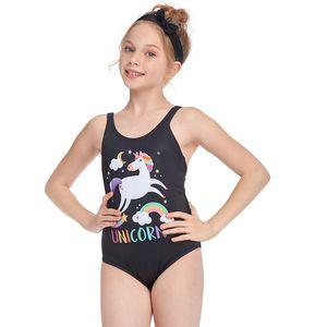 Einhorn Mädchen einteiliges Badebekleidung Dreieck Kreuz Riemchen Badeanzug Retro Einstellbar Baby Badeanzüge Cartoon Schwimmen Anzug YY037