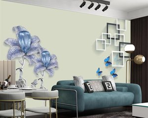 Luxury Diamond Flower 3d Wallpaper Modern Home Decoration Mural Wall Paper Living Room Bedroom Classic Romantic Floral Wallpapers