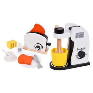 Children Wooden Kitchen Play House Toy Bread Machine Juicer Coffee Vegetable and Fruit Cutting Set Toys