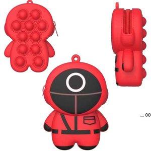 Squid Games Sensory Bubbles Toys Fidget Purse Keychain Change Goin Bags Square Triangle Round Decompression Push Finger Toy LLA9255