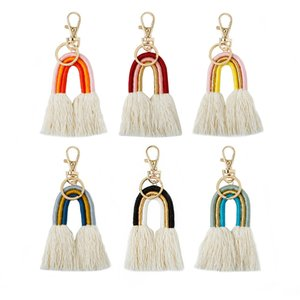 Weaving Rainbow Keychains Charm for Women Boho Handmade key Holder Keyring Macrame Bag Charms Car Hanging Jewelry Gifts