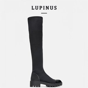 Platform Heel Knee High Boots Women Slim Stretch Lycra Long Winter Warm Fur Sock Ladies Over The 210907