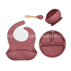 4pcs set BPA Free Baby Silicone Tableware Waterproof Bib Solid Color Dinner Plate Sucker Bowl And Spoon For Children 857 Y2