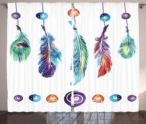 Curtain & Drapes Boho Curtains Several Tribal Feather Group In Hippie Universe Cosmos Harmony Forms Living Room Bedroom Window