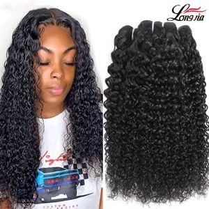 Brésilien Curly Humain Cheveux Tissu 100% Deep Wave Kinky Curly Virgy Cheveux Bundles Naturel Couleur Naturelle 9A Brésilienne Kinky Kinky Hair Extensions