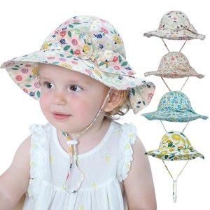 Baby Kids Sun Caps Greenadine Сплошные цвета Полные Цветы Распечатать Девушка Лето Защитить Шею Sunbonnet Вентилируйте Удобное Забрало с бантом