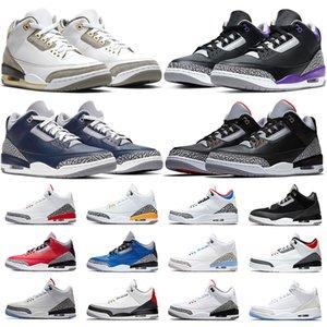Nike Air Jordan 3 حذاء كرة السلة للرجال من Jumpman باللون الأسود من الأسمنت باللون الأرجواني UNC JTH NRG باللون الأحمر الناري حذاء رياضي للرجال مقاس 40-47