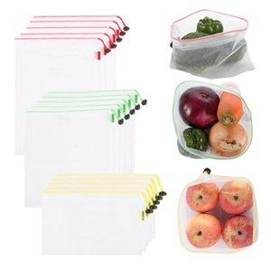 15pack 재사용 가능한 메쉬 가방 에코 친화적 인 채소 와일 쇼핑백 가볍고 See-Throughery Storage Bag