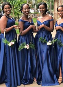 Navy Blue Off Shoulder Bridesmaid Dress Vintage A Line With Side Split Spring Summer Garden Maid of Honor Gown Wedding Guest Tailor Made Plus Size Available