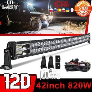"""Lumière de travail CO 22 32 42 52 """"Pouce courbe VUS à LED Barre de LED Offroad 12V 24V Feuille Combo à 2 rangées pour le pick-up tracteur Voiture de camion ATV"""