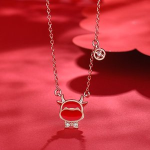Individual creativity inlaid diamond bow, Chinese Zodiac ox clavicle chain, women's lifeline transfer Necklace
