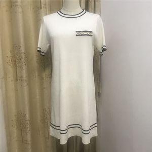 Vestido de mujer Jacquard Camisa de punto con manga corta Elástica Falda apretada Moda Bolsa de cuello redondo Cadera
