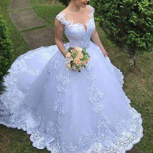 Illusion Vestido the Cheap Noiva Around Neck Balding Princess Applications for Luxury Wedding Dress Sexy Mariee Back