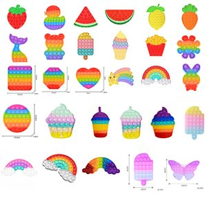 Rainbow Fruits Shapes Push Fidget Toy Sensory Bubble Autism Special Needs Anxiety Stress Reliever Wholesale Party Favor Gifts