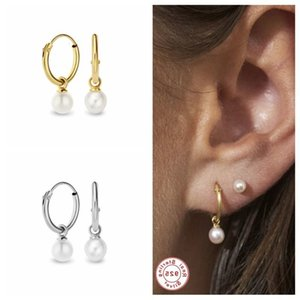 Luxury 925 Sterling Silver Drop Earrings Pearl Earring For Woman Girls CZ Hanging Pendientes Brincos orecchini Fine Jewelry2021