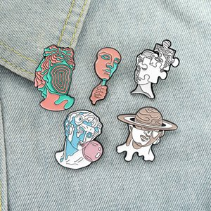 5 Styles Sculpture Enamel Pins Custom Fun Art Brooches Bag Clothes Lapel Pin Label Badge Cartoon Jewelry Gift for Friends