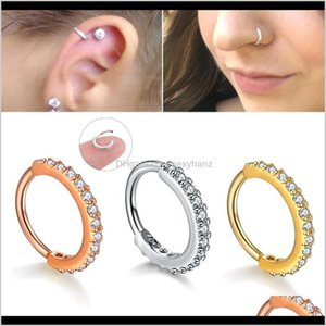 Stud Jewelry Drop Delivery 2021 Crystal Earrings Nose Tragus Cartilage Hoop Steel Rose Gold Ear Ring Nail Personality Simple Small Circle Wom
